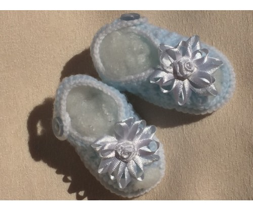 "Crochet - Blue Sandals ""20 inch doll"""
