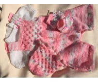 "Knitted - Pink Crawler with hat, top & booties ""22 inch"""