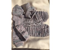 "Knitted - Grey Suit with headband and booties ""22 inch"""