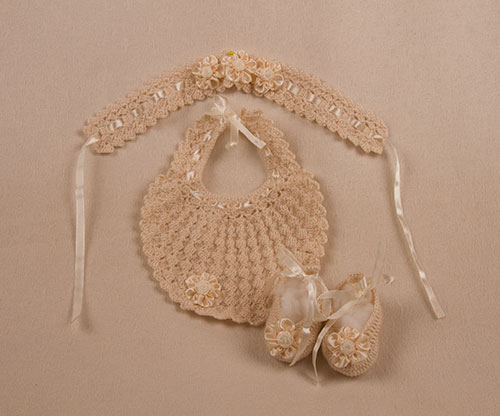 Crochet Headband, Bib & Shoes Set